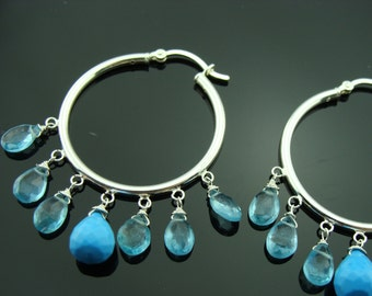 Sleeping Beauty Turquoise and Apatite Hoops Sterling Silver Earrings