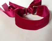 Wide Velvet Choker with Ribbons in Red Wine Color