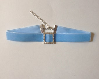 Light Blue Velvet Choker with Rhinestone Charm