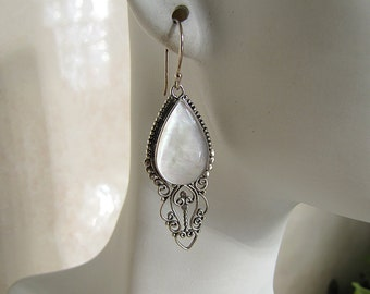 Boho Mother of Pearl Sterling Silver Earrings