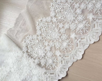 "Cream White Cotton Tulle Lace Aulic Embroidered Trim For DIY Supply 1 Yard 10.62"" Wide"