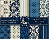 50% Off Vintage Blue Damask Paper Pack - 10 Digital papers - 12 x12 - 300 DPI