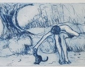 The boy , the cat  and the oliver tree, original etching, blue ink