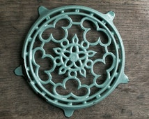 Lovely Vintage French light blue Cast Iron Enameled Table Mat,Trivet, French country kitchen table