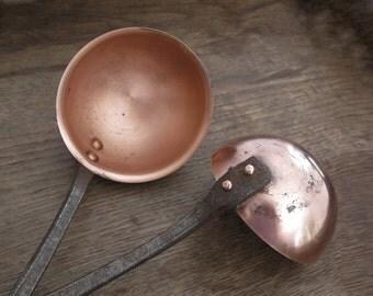Set of 2 Large Antique French Copper ladle, cast iron handles, solid copper utensils