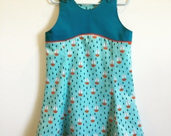 Sailing Too... Organic cotton sundress with matching doll dress