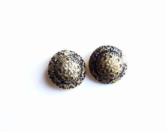 2 Vintage Gold Metal Buttons