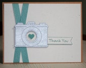 One Handmade Thank You Card Photographer's Thank You Notecard Silver Blue