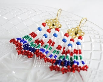 Tassel earrings | red fringe earrings | beaded fringe earrings | red blue bohemian earrings | boho-chic fringe dangle earrings | unique gift