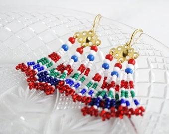 Tassel earrings • red fringe earrings • beaded fringe earrings • red blue bohemian earrings • boho-chic fringe dangle earrings • unique gift