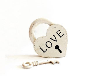 Personalized Wedding Gift for couple . Love Lock . heart lock and key . heart padlock . white heart . iron heart
