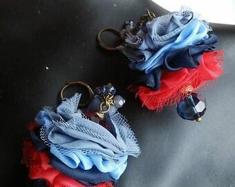 Flower earrings,red blue,petal jewelry