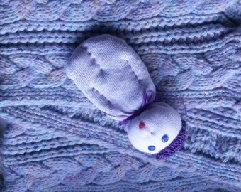 White Lavender Sock Doll Stuffed With Real Lavender Heart Mouth OOAK