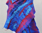 Beautiful shawl, felted scarf, silk, wool, felted, gift, fiber art, blue, red, turquoise