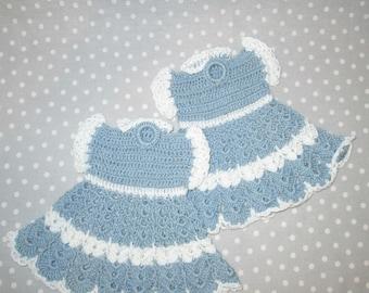 Crocheted Pot Holder Potholders Blue Bright White Dress - Set of Two