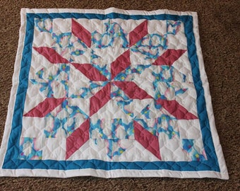 Baby Quilt - Carpenters Star Pattern Quilt - Pink , White, and Blue - Handmade Baby Quilt - Ready to Ship