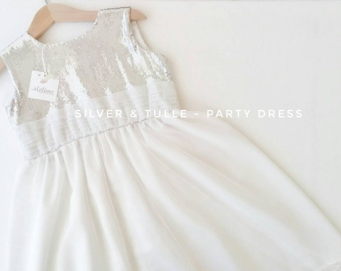 Girl Party Dress, Little girl Pink party dress, Silver Tulle dress for Little girls, Toddler party dresses