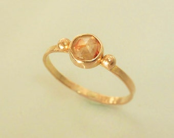 14K Rose Gold Engagement ring with Natural spotted Pinkish White Diamond, Diamond Engagement Ring