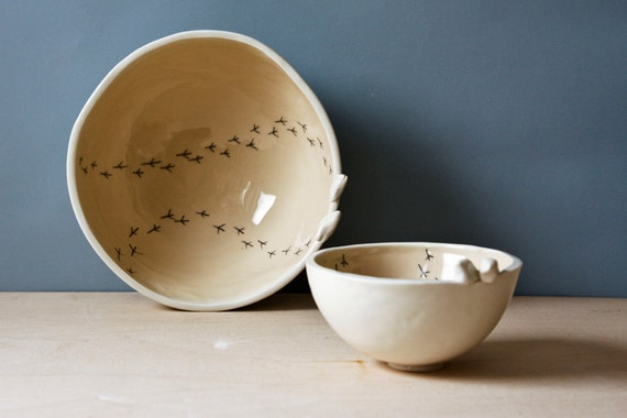 nesting bowls, TWEET BOWLS, fudge, beige, neutral and white pottery bowl. modern, whimsical, quirky ceramic bird bowl, trinket dish