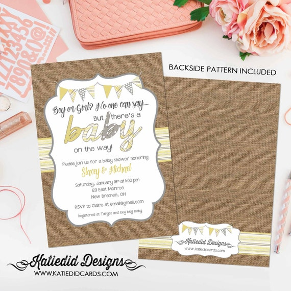 rustic chic burlap invitation diaper and wipe brunch surprise gender reveal co-ed baby shower yellow gray invite gay 1417b Katiedid Designs