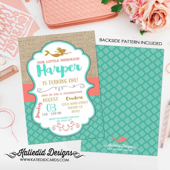 mermaid birthday invitation coral aqua burlap 1365 baby shower diaper couples coed sprinkle sip and see twin rustic chic theme idea baptism