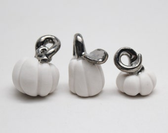 Tiny White Gold Pumpkins, Handmade Porcelain Miniature, Fall Decoration, Halloween Decoration