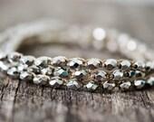 Silver Wrap Bracelet, Silver Bracelet, Stackable Bracelets, Crocheted Bracelet Boho, Boho Bracelet Set, Triple Bracelet Woman, Gypsy Jewelry