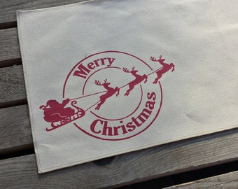 Christmas placemat,  screen printed place mat, canvas place mat, table mat, christma table linen