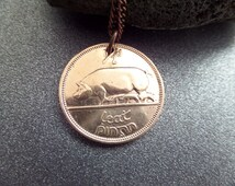 Irish Jewelry Coin Necklace From Ireland Genuine Half Pence in Copper, 1953 Birthday Gift, Pig and Harp