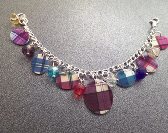 Girls Scottish Charm Bracelet with Plastic Tartan Charms and Glass Beads, Clan Jewelry, Highland Dance, Gift from Scotland