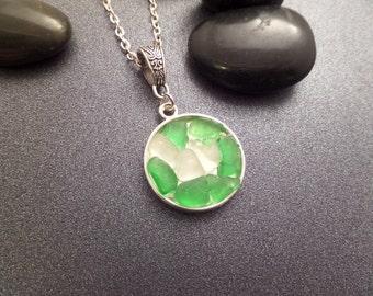 Scottish Sea Glass Round Pendant Necklace Green and White Sea Glass, Jewelry from Scotland