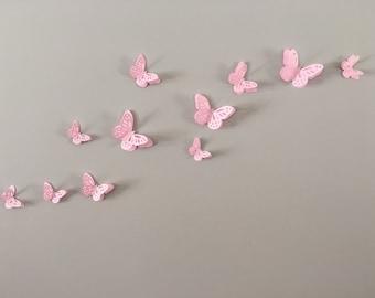 3D Wall Monarch Butterflies - Pink butterflies decal, wall decoration, nursery decor