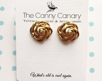 70's Vintage Gold Flower Stud Earrings