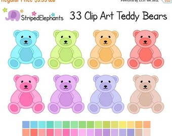 50% OFF SALE Pastel Teddy Bear Clipart - Digital Clip Art - Instant Download - Commercial Use