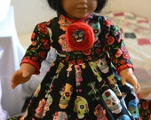 American girl doll dress dia de los muertos day of the dead skulls black and red sugar skulls hair pin