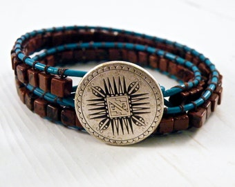 Red Jasper Square Leather Wrap/ Southwest Turquoise Double Leather Bracelet/Geometric Shield Button/ Boho Natural Chic/ Ready to Ship