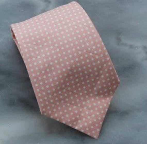 Peach Polka Dots mens traditional neck tie