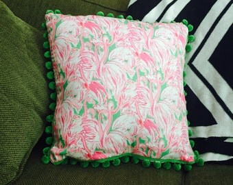 Pink Colony, Flamingo Pillow, Bright Colors, 16x16, Pom Poms, Pillowcase, Pillow, Lilly Pulitzer, Inspired
