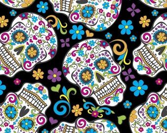 Folkloric Skulls, David Textiles, Sugar Skulls Fat Quarter