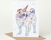 Pug Unicorn Card (pug birthday card, pug congratulations card, pug celebration card, tattoo, rainbow, believe in yourself, motivational)