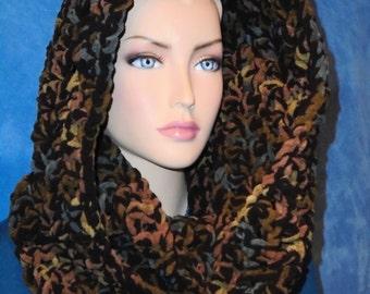 Black Crochet Infinity Scarf, Green Crochet Infinity Scarf, Brown Crochet Infinity Scarf, Chunky Crochet Scarf,Winter Scarf, Infinity Scarf,
