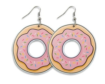 Donut Earrings - Pink Laser Cut Illustration Hoops Pop Colorful Kawaii Bold Edgy Kitschy Cute Pastels