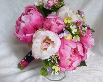 Fuchsia peony bridal bouquet 4 piece set