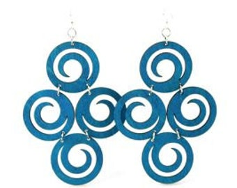 Circles of Spirals - Large Laser Cut Wood Earrings