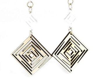 ISquared Dangle Earrings - laser cut - reforested wood earrings