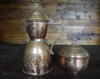 Vintage Oriental Arabian copper tea pot kettle and tea canister can circa 1920-40's / English Shop