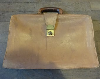 Vintage English Leather Brown Satchel Attache Briefcase Carry Bag Holdall Carrier circa 1960-70's / English Shop