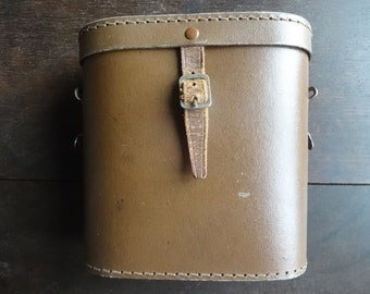Vintage English Leather Brown Binoculour Case Carry Holdall Carrier Case circa 1950-60's / English Shop