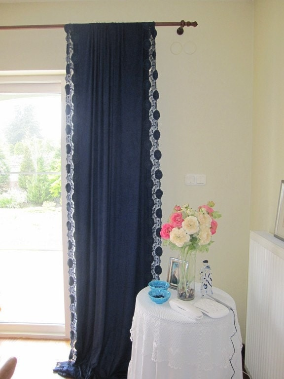 Navy Blue Scalloped Edge Lace Curtain Panels Beach Cottage