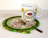 Clothesline Coiled Rope Trivet - St. Patrick's Day Green Snack Mat - Handmade Fabric Placemat - Large Mug Rug - Homemade Candle Mat